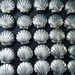Metal Scallop shell plaques make up a one mile long trail along Minehead seafront. Made by Thrussells
