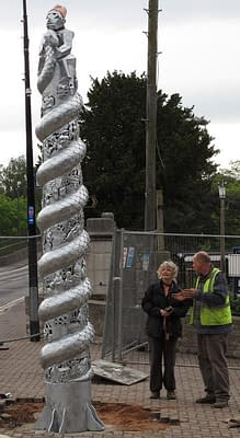 heritage themed column sculpture depicting the life of H M Stanley. Public Art Wales