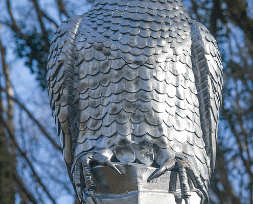 Peregrine Falcon Sculpture. Made by Thrussells. Plym Bridge Woods. Plymouth public art