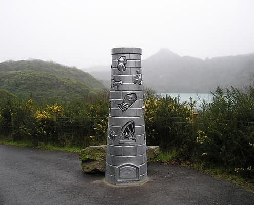 Metal chimney heritage sculpture. Made by Thrussells. Public Art Cornwall