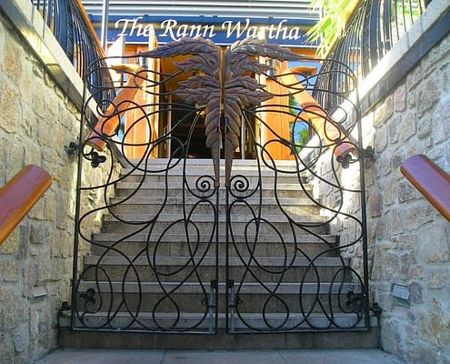 Green Man design gates for Wetherspoons, St Austell. Made by Thrussells. Public Art Cornwall