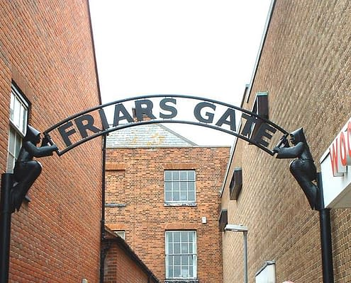 Friars Gate, town entrance feature. Made of galvanised steel painted black. Made by Thrussells. Maldon, Essex
