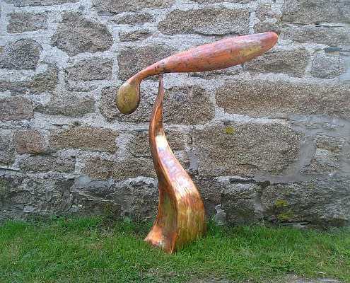 Copper giant seed wind sculpture. Made by Thrussells