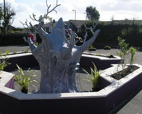 Storytelling Throne, made of galvanised steel. Pensive Primary School. Made by Thrussells. Public Art Cornwall