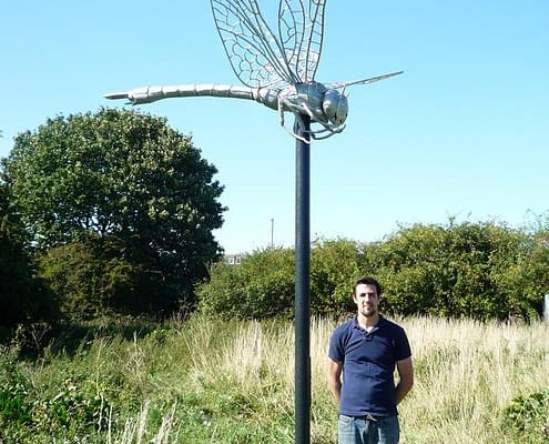 Giant Dragonfly at Hounslow Heath | By Thrussells. Public Art London