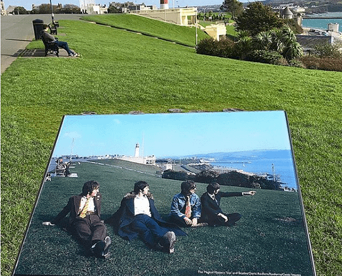 Information sign tells of where the Beatle sat on Plymouth Hoe. Plymouth public art