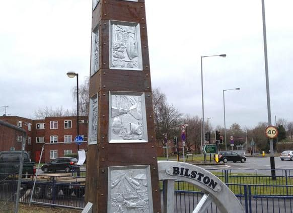 Bilston Town Entrance Heritage Sculpture, made of steel and core-ten steel. Made by Thrussells. Public Art Wolverhampton
